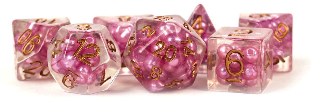 Pearl Resin 16mm Poly Dice Set : Pink /Copper Numbers (7) | Game Knights | MA | Game Knights MA