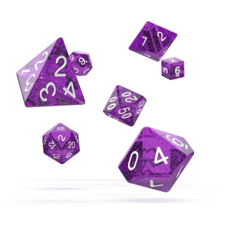 OAKIE DOAKIE DICE: POLYHEDRAL RPG SET SPECKLED - PURPLE (7CT) | Game Knights | MA | Game Knights MA