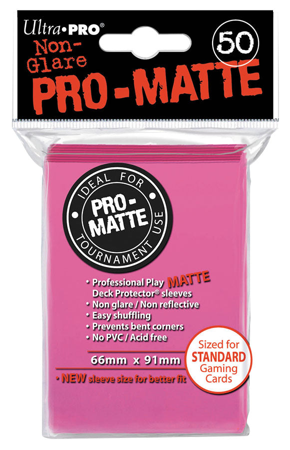 Pro-Matte Standard Deck Protectors: Bright Pink (50) | Game Knights MA