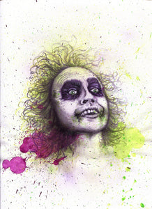 """FANCY"" MINI ORIGINAL BEETLEJUICE FRAMED PAINTING + FREE PRINT + FREE SHIPPING!"