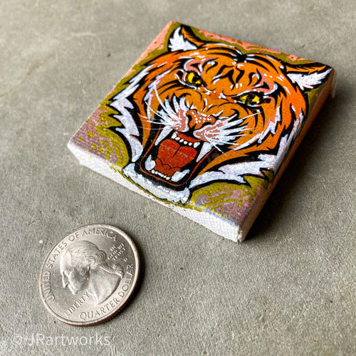 MINI ORIGINAL EYE OF THE TIGER PAINTING + FREE SHIPPING!