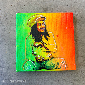 MINI ORIGINAL BOB MARLEY II PAINTING + FREE SHIPPING!