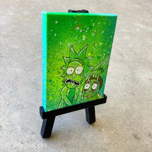 MINI ORIGINAL RICK AND MORTY PAINTING + FREE SHIPPING!