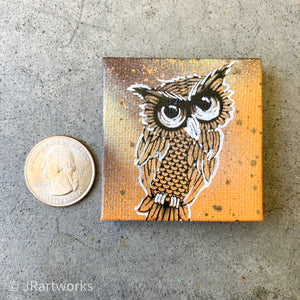 MINI ORIGINAL HOOT HOOT PAINTING + FREE SHIPPING!