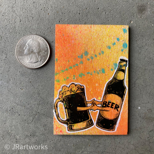MINI ORIGINAL HAPPY BEER DANCE PAINTING + FREE SHIPPING!