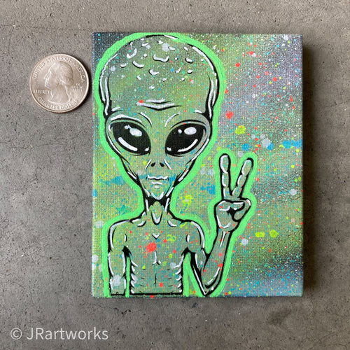 MINI ORIGINAL I COME IN PEACE PAINTING + FREE SHIPPING!