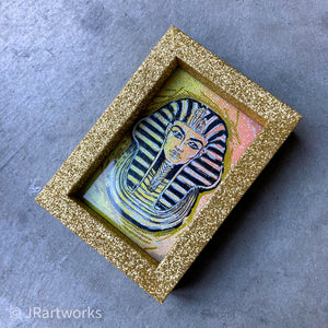 """FANCY"" MINI ORIGINAL KING TUT FRAMED PAINTING + FREE PRINT + FREE SHIPPING!"