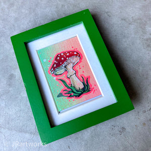 """FANCY"" MINI ORIGINAL SHROOM FRAMED PAINTING + FREE PRINT + FREE SHIPPING!"