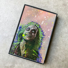 "Load image into Gallery viewer, ""FANCY"" MINI ORIGINAL BEETLEJUICE FRAMED PAINTING + FREE PRINT + FREE SHIPPING!"