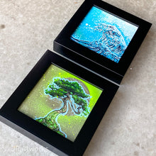 "Load image into Gallery viewer, ""FANCY"" MINI ORIGINAL ZEN SQUARES FRAMED PAINTINGS SET OF 2 + FREE PRINTS + FREE SHIPPING!"