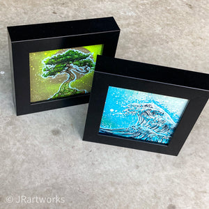 """FANCY"" MINI ORIGINAL ZEN SQUARES FRAMED PAINTINGS SET OF 2 + FREE PRINTS + FREE SHIPPING!"