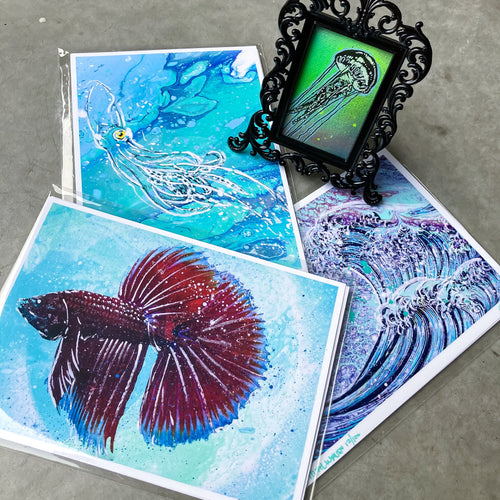 MINI (FRAMED) ORIGINAL JELLYFISH PAINTING + LIMITED PRINTS + FREE SHIPPING!