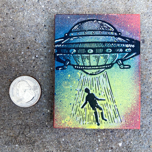 MINI ORIGINAL ABDUCTION PAINTING + FREE SHIPPING!