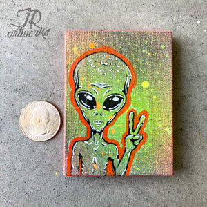 MINI ORIGINAL ALIEN PAINTING + FREE SHIPPING!