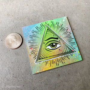 MINI ORIGINAL ALL SEEING EYE PAINTING + FREE SHIPPING!
