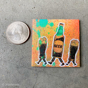 MINI ORIGINAL BEER PAINTING + FREE SHIPPING!