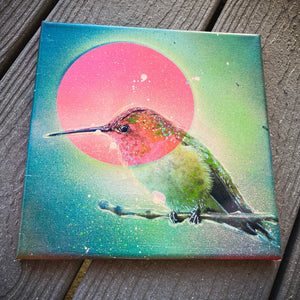 8x8' ORIGINAL HUMMINGBIRD ARTWORK + FREE SHIPPING! + 2 FREE PRINTS!
