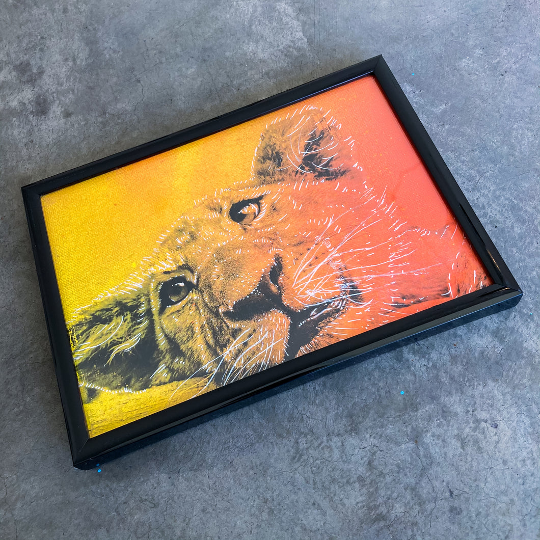 MINI ORIGINAL FRAMED LION CUB PAINTING + FREE PRINT + FREE SHIPPING!
