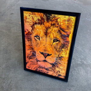 MINI ORIGINAL FRAMED LION PAINTING + FREE PRINT + FREE SHIPPING!