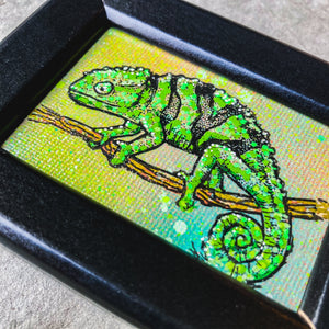 MINI (FRAMED) ORIGINAL CHAMELEON PAINTING + LIMITED PRINT + FREE SHIPPING!