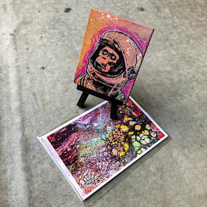 MINI ORIGINAL SPACE MONKEY PAINTING + LIMITED PRINT + FREE SHIPPING!