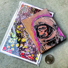 Load image into Gallery viewer, MINI ORIGINAL SPACE MONKEY PAINTING + LIMITED PRINT + FREE SHIPPING!