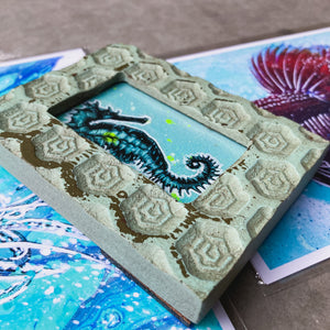 MINI (FRAMED) ORIGINAL SEAHORSE PAINTING + LIMITED PRINTS + FREE SHIPPING!