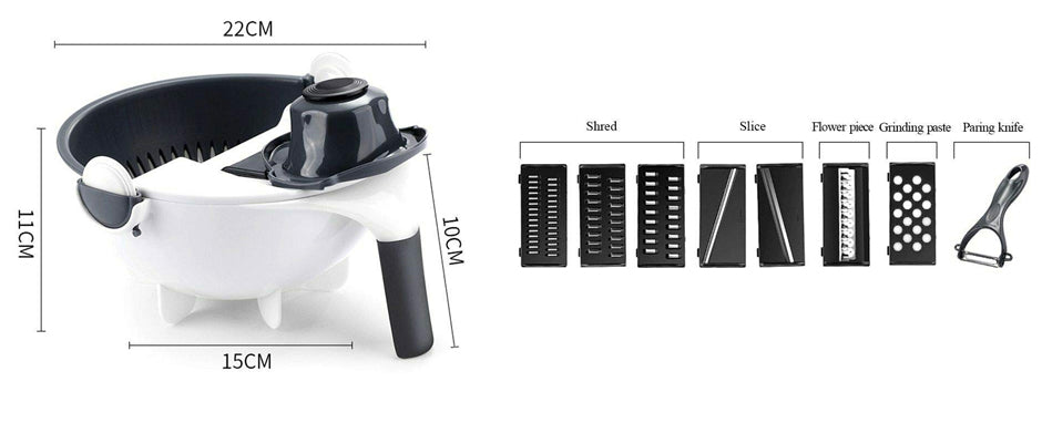 9 In 1 Multi-Functional Rotate Vegetable Cutter.