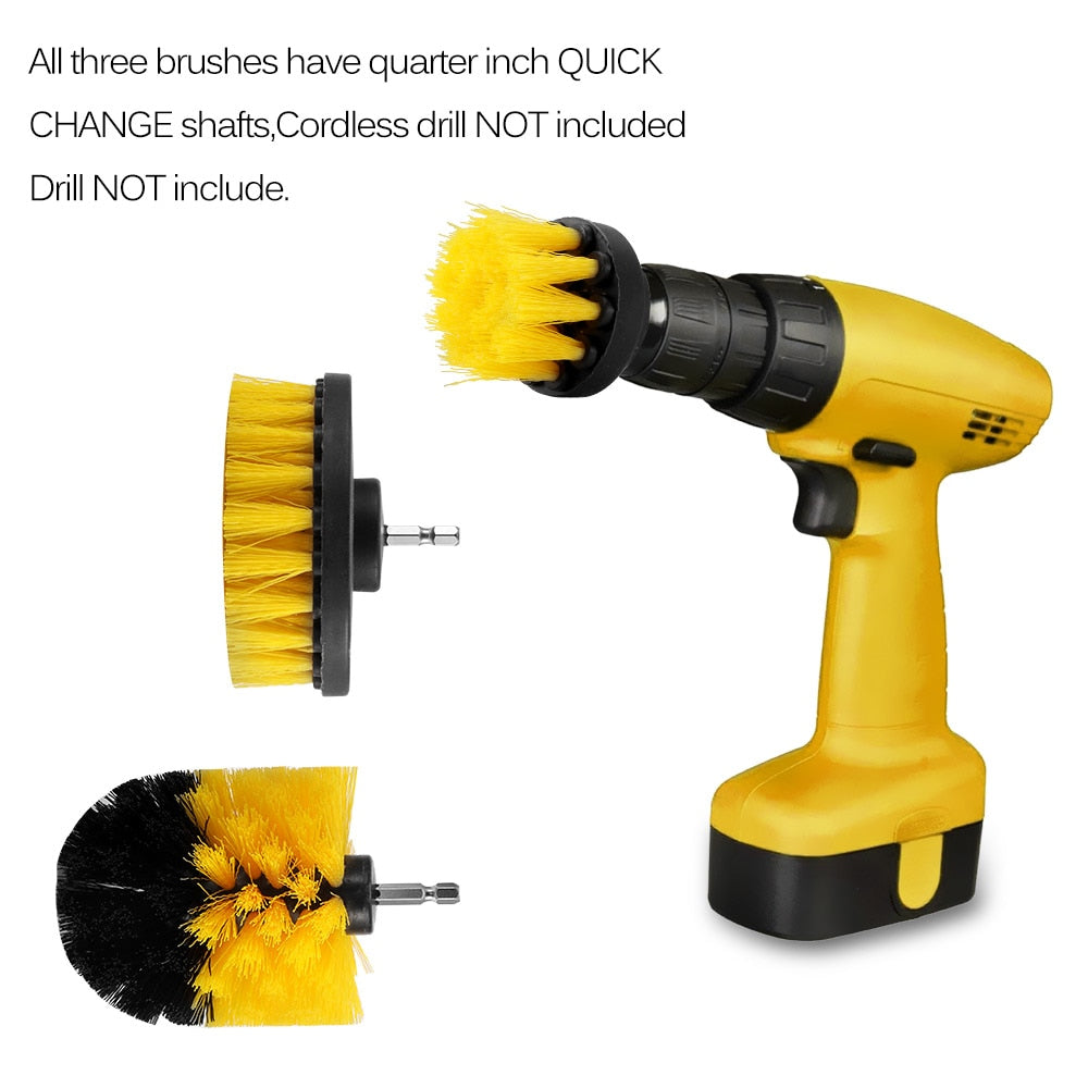 3Pcs/Set Electric Drill Brush Kit for Carpet ,Glass ,Car ,Tires .