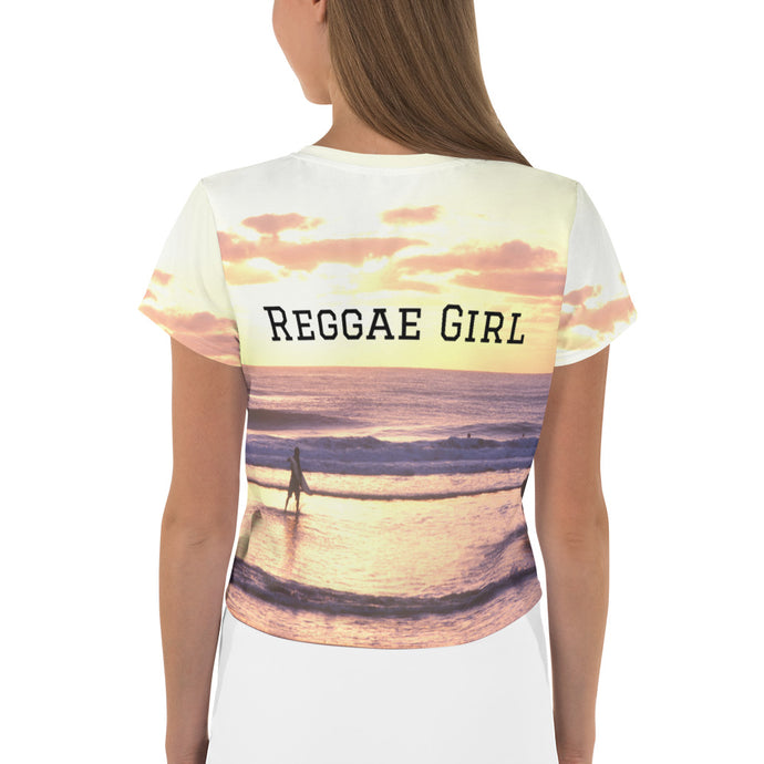 Sunset Reggae Girl Crop Tee