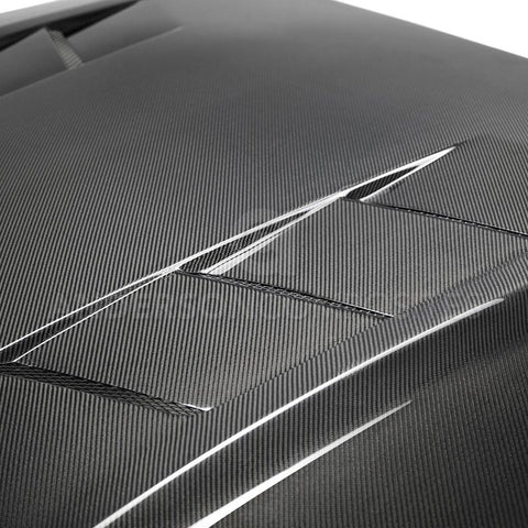 2018-2020 FORD MUSTANG TYPE-SA DOUBLE SIDED CARBON FIBER HEAT EXTRACTOR HOOD