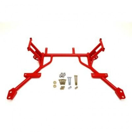 BMR Suspension KM009R Tubular K-member with No Engine Mounts; for Standard Power Rack - Red (2005-2010 Mustang)