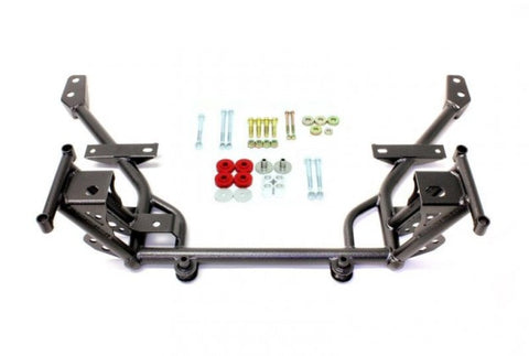 "BMR Suspension KM020H Tubular K-Member with 1/2"" Lowered Motor Mounts Standard Rack Mounts - Black Hammertone (2005-2014 Mustang)"