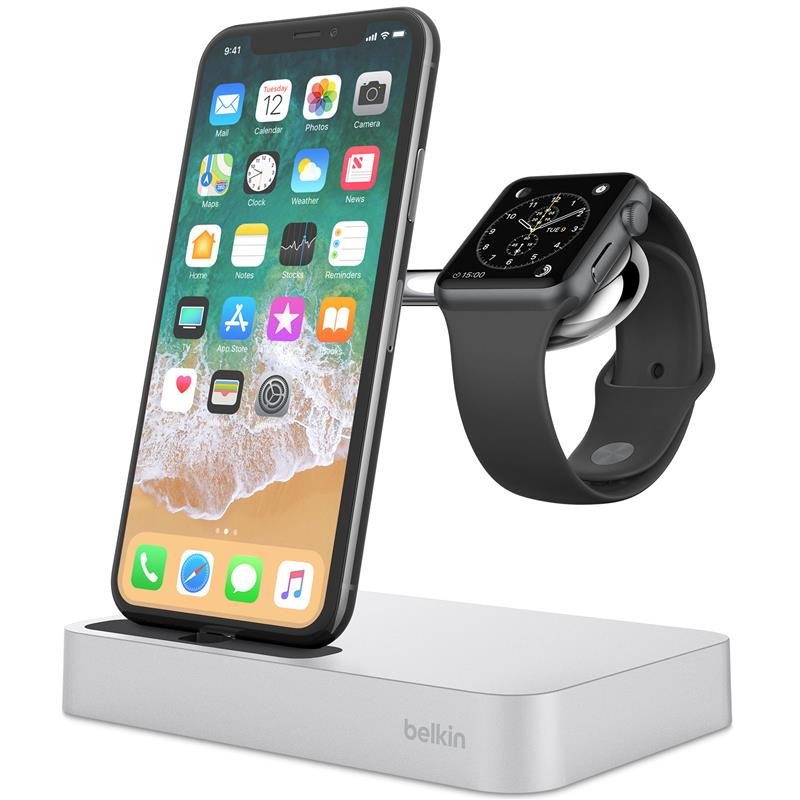 Belkin Valet Charge Dock for Apple Watch & iPhone (Silver) - iChameleon