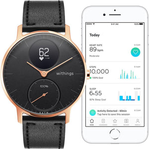 Withings / Nokia Steel HR Leather Smart Watch (Rose Gold/Black) - iChameleon