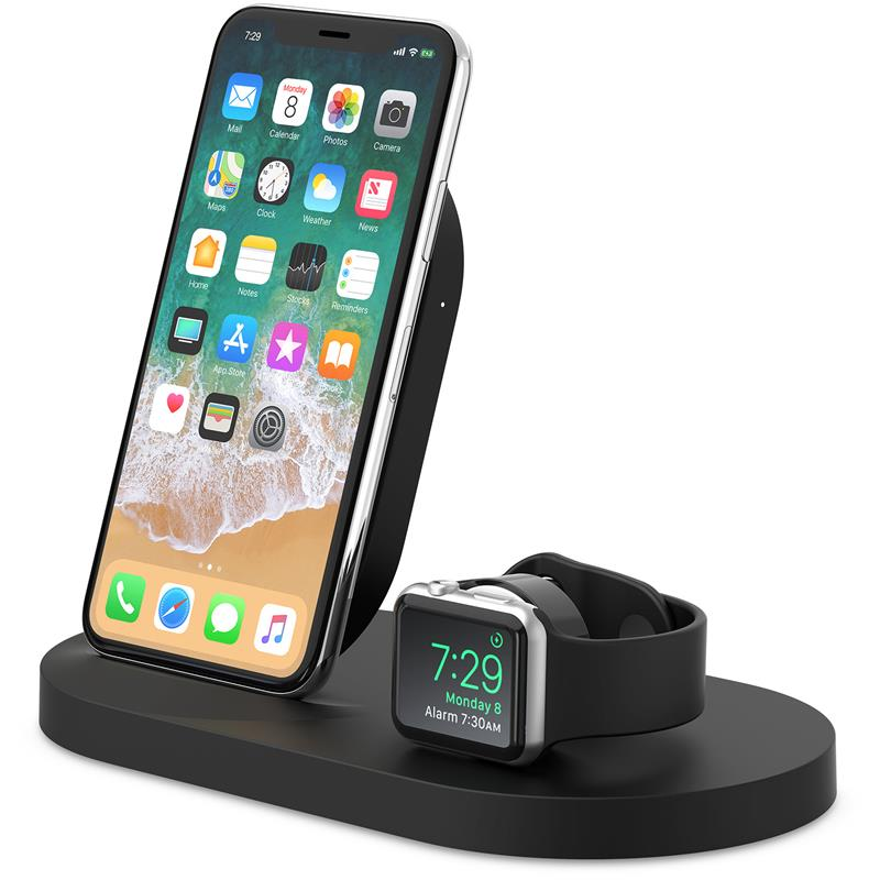 Belkin BoostUP Wireless Charging Dock for iPhone + Apple Watch + USB-A port (Black) - iChameleon