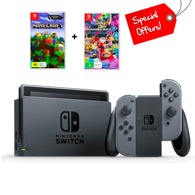 Nintendo Switch Console Grey (New Look Packaging) + Minecraft (Game) + Mario Kart 8 (Game)