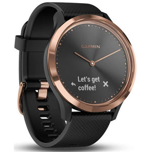 Garmin Vivomove HR Hybrid Watch with Black Band (Rose Gold Sport) [Medium]