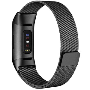 Milanese Style Band For Fitbit Charge 3 (Black)