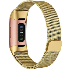 Milanese Style Band For Fitbit Charge 3 (Gold)