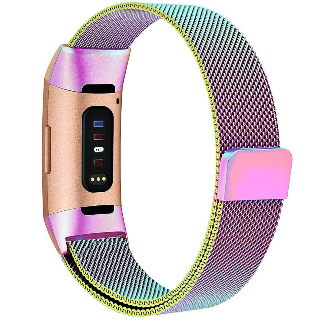 Milanese Style Band For Fitbit Charge 3 (Rainbow)