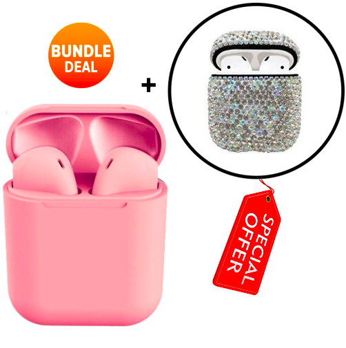 inPods with Charging Case + Protective Case (2019) (Bling) [Bundle]