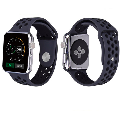 Sport Band For Apple Watch Series 4/3/2/1 (Black/Black) - iChameleon