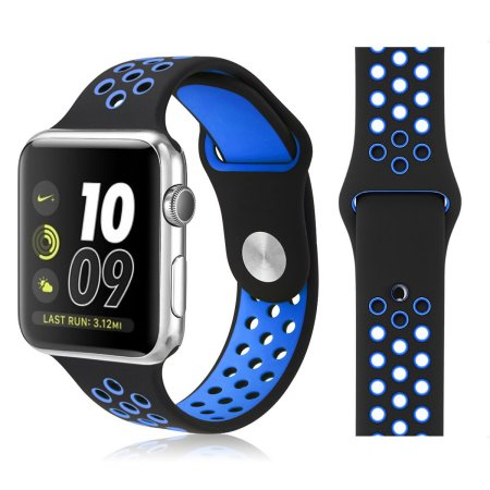 Sport Band For Apple Watch Series 4/3/2/1 (Black/Blue) - iChameleon
