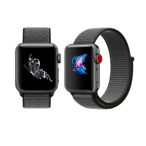 Nylon Sport Loop Band For Apple Watch Series 4/3/2/1 (Black) - iChameleon