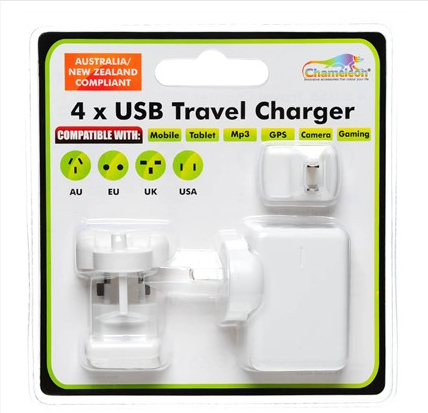 4 Port USB & Travel Charger