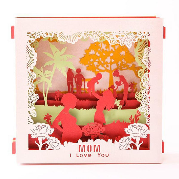 Mother's Day Greeting Card in a Carved Box Design