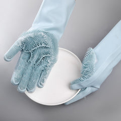 1 Pair, Grey Color, Purpose Sponge Gloves for Dishwashing, Scrubbing, Cleaning.