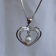 Freshwater Pearl Double Heart Pendant on a Sterling Silver Chain