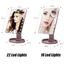 Load image into Gallery viewer, 16/22 LED Lights Touch Screen Makeup Adjustable Mirror